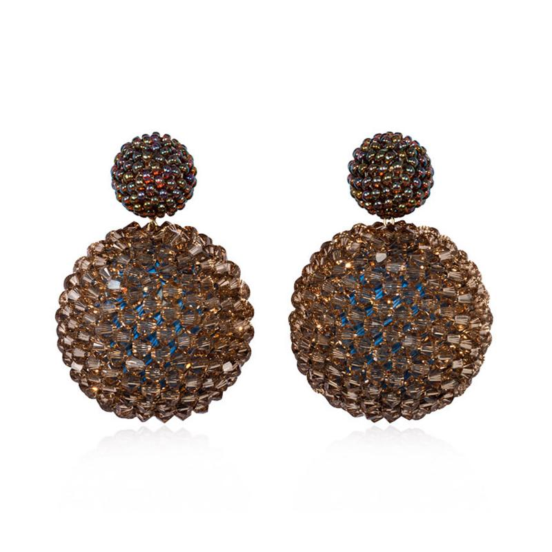 Axel Russmeyer Axel Russmeyer Glass and Crystal Beaded Ball Earrings in Brown Tones