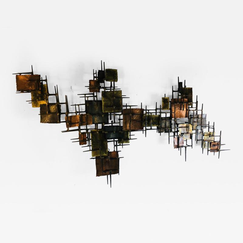 B H Kelvin SIGNED MONUMENTAL BRUTALIST MIXED METAL AND NAIL WALL SCULPTURE
