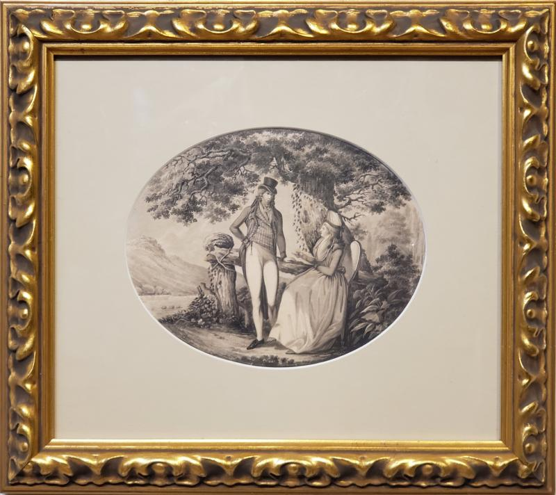 B Koller Ink Drawing of a Man Courting A Woman Signed by B Koller dated 1796