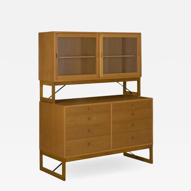 B rge Mogensen B rge Mogensen Danish Mid Century Modern Oak Bookcase Cabinet over Dresser