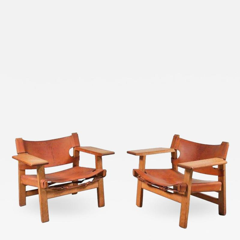B rge Mogensen Pair of Borge Mogensen Spanish Chairs for Fredericia Denmark 1950