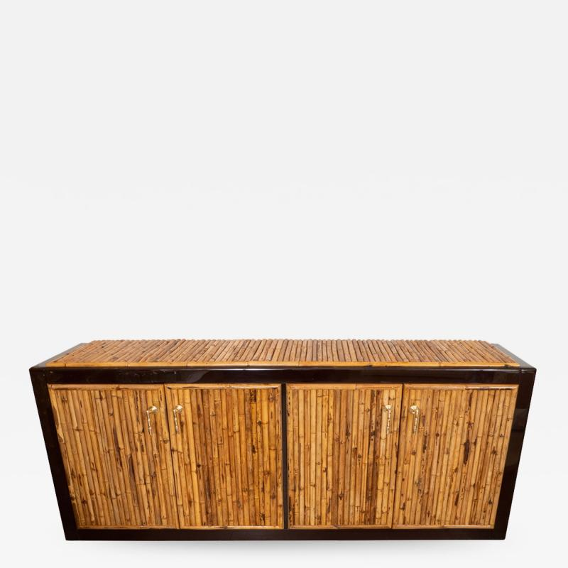 BAMBOO AND LACQUERED WOOD SIDEBOARD