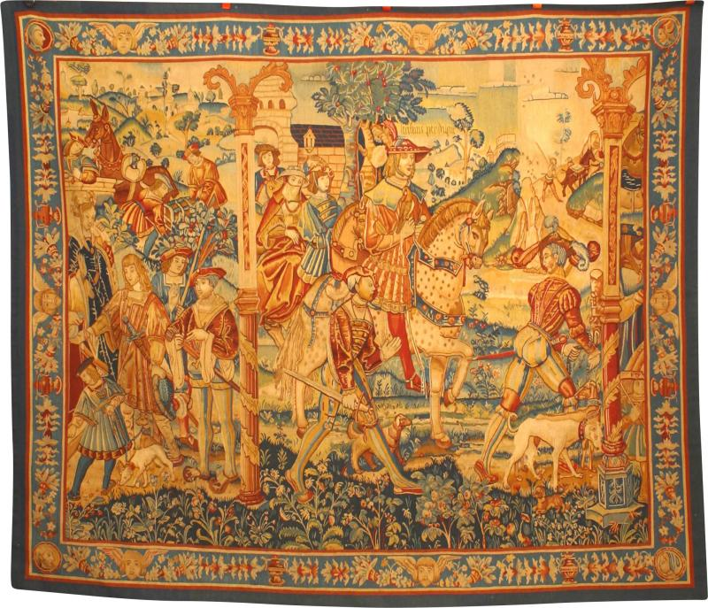 BELGIAN STYLE WOVEN TAPESTRY WITH ROYAL SCENE