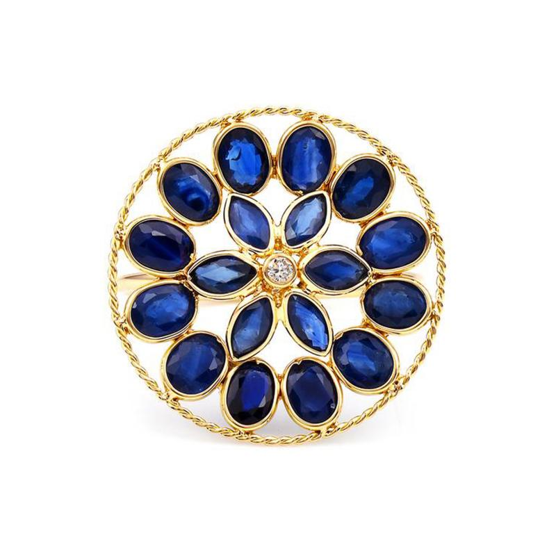 BLUE SAPPHIRE AND DIAMOND FLORAL RING 18K YELLOW GOLD