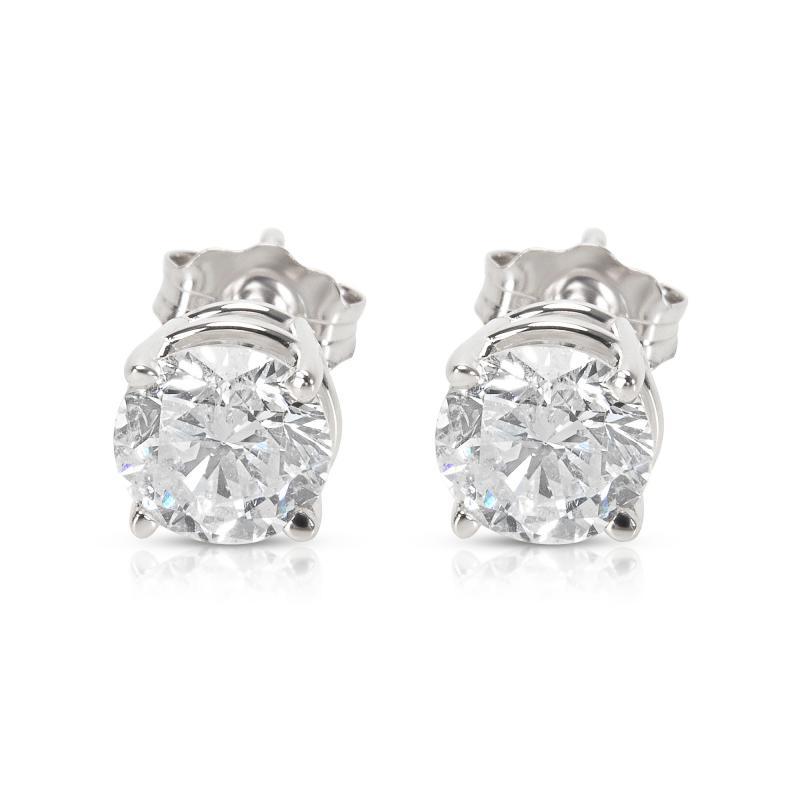 BRAND NEW 4 Prong Basket Diamond Stud Earrings in 14K White Gold 1 42 CTW