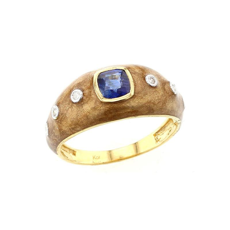 BROWN ENAMEL RING WITH BLUE SAPPHIRE AND DIAMONDS 18K YELLOW GOLD