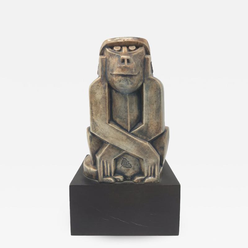 Baboon Ceramic Sculpture Eliezer Weishoff 1938