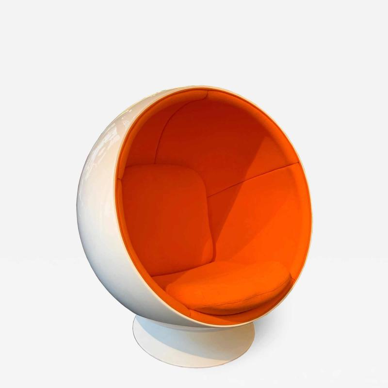 Ball Chair by Adelta Eero Aarino Orange and White Space Age Made in Finland