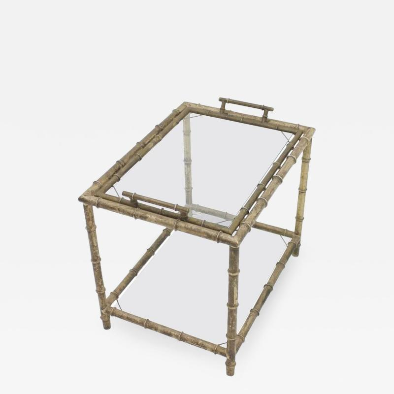 Bamboo Table with Tray Aluminum and Glass France 1930s