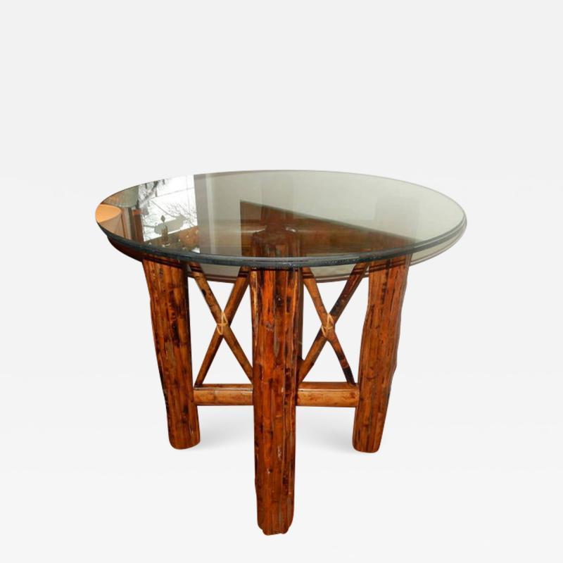 Bamboo and Tortoiseshell Finish Circular Dining Room Table