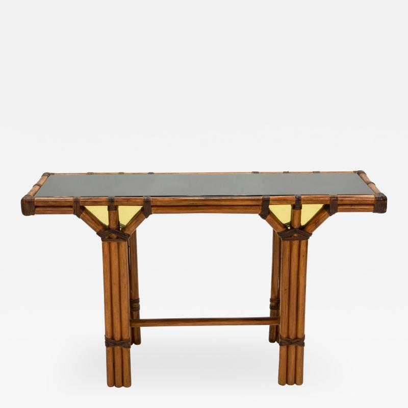 Bamboo and brass French console table black glass top 1970s