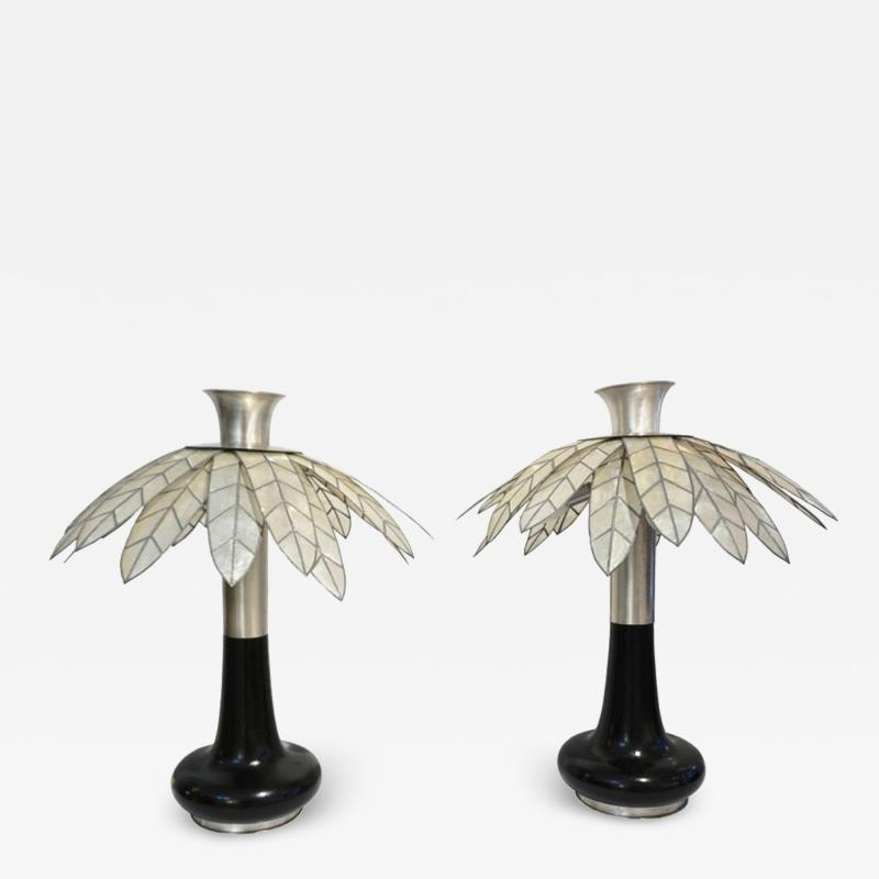 Banci 1975 Banci Italian Art Deco Pair of Mother of Pearl Black Ebonized Palm Lamps