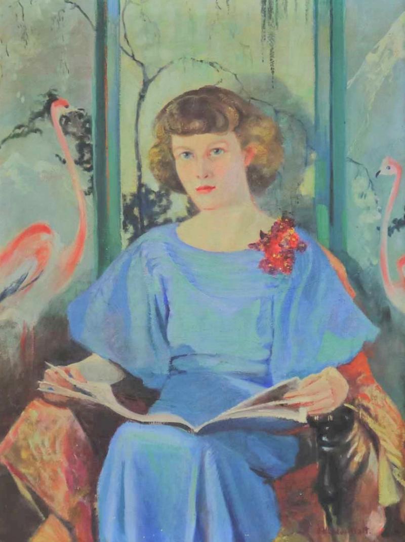 Barbara Hunter Watt Large signed oil portrait titled betsy by barbara hunter watt 1936