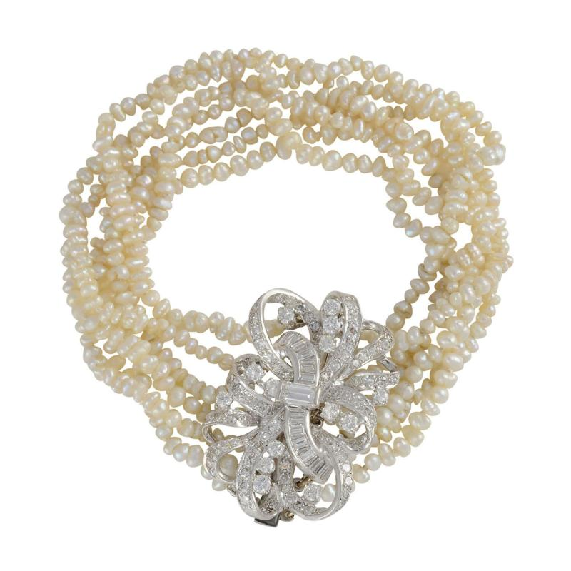 Baroque Cultured Pearl and Diamond Bracelet