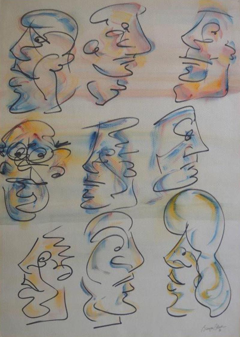 Barry Bleach Set of Nine Caricatures by Barry Bleach
