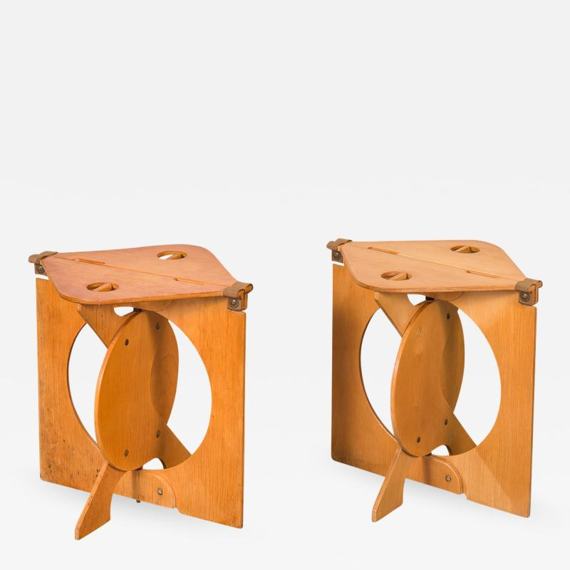 Barry Simpson Pair of Rooster Folding Stools by Barry Simpson