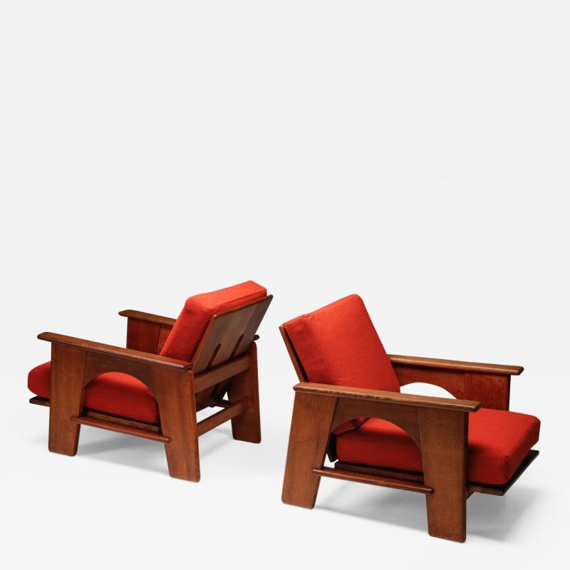 Bas Van Pelt Dutch Oakwood Lounge Seating set by Bas Van Pelt 1940s