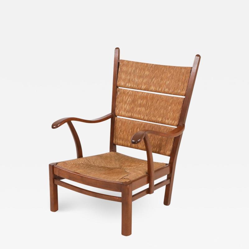 Bas Van Pelt High Back Armchairs in Oak and Straw attributed by Bas Van Pelt 1940s