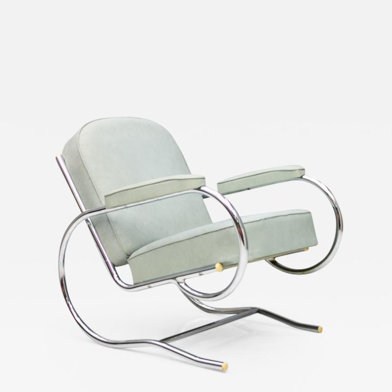 Batistin Spade Steel Tube Lounge Chair by Batistin Spade France 1930s