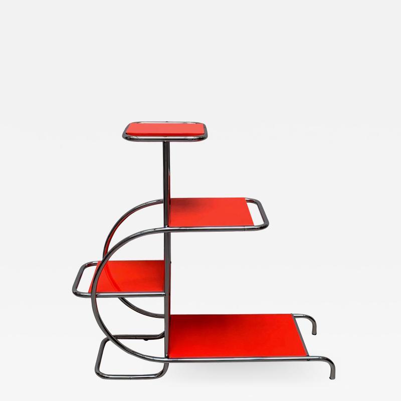 Bauhaus Steeltube Etagere Luminous Red and Chrome