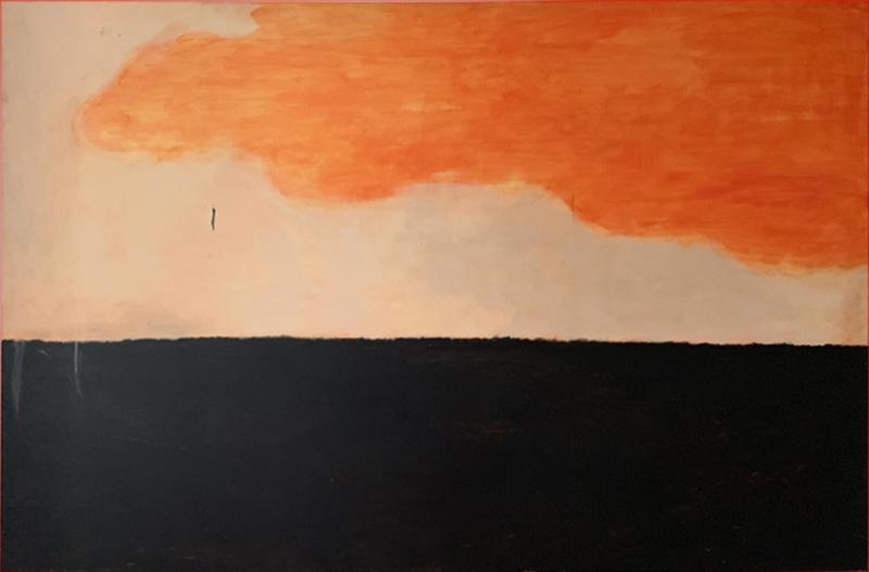 Beatrice Pontacq GRAND NUAGE ORANG HORIZON PRESQUE NOIR Abstract painting