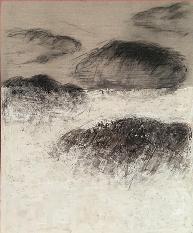 Beatrice Pontacq NUAGES NOIRS ET ARGILE BLANCHE Abstract Painting