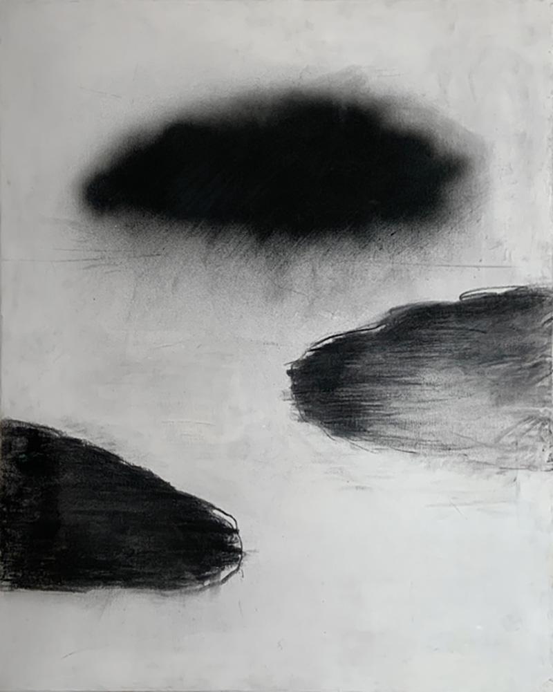 Beatrice Pontacq NUAGES NOIRS SUR FOND BLANC Painting
