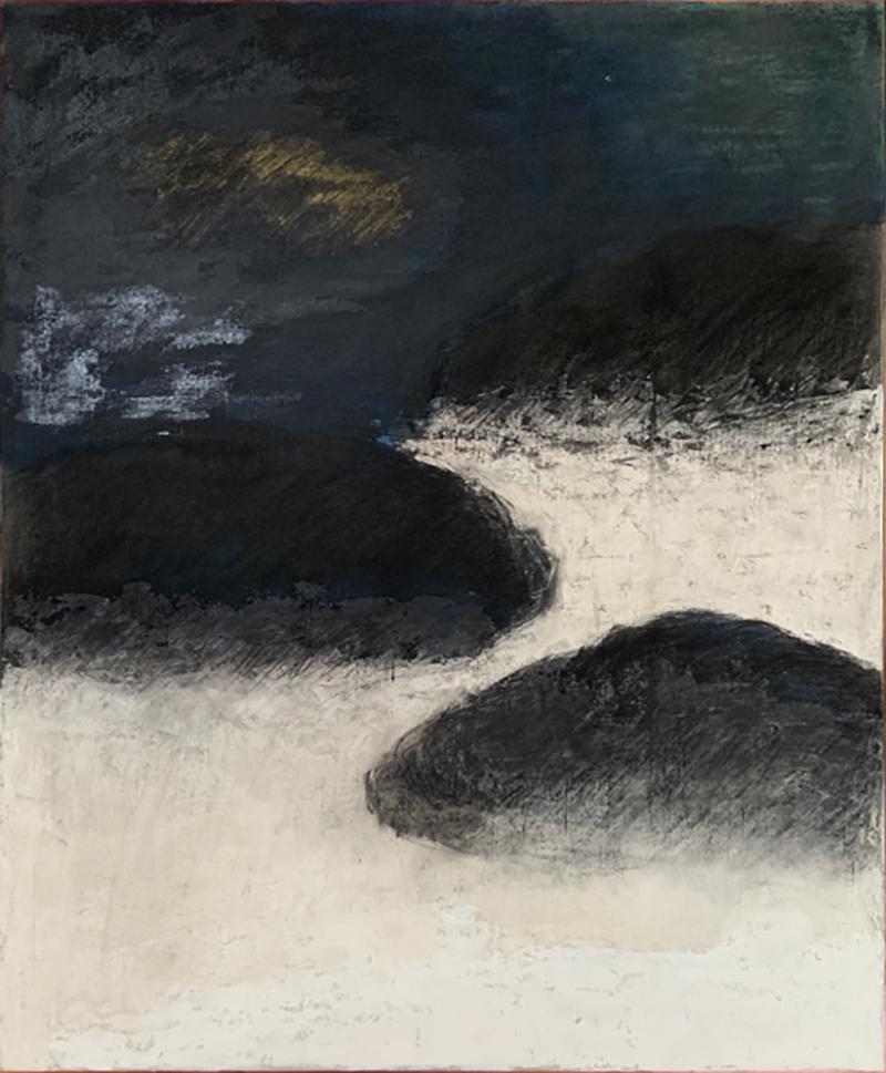 Beatrice Pontacq NUAGES NOIRS SUR FOND BLEU FONCE Abstract Painting
