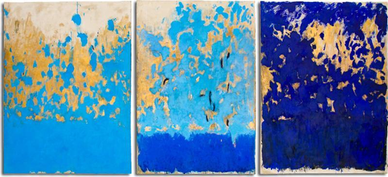 Beatrice Pontacq TRIPTYQUE BLEU ET OR Blue and Gold Triptych