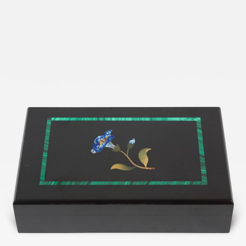 Beautiful Onyx Pietra Dura Floral Hinged Box