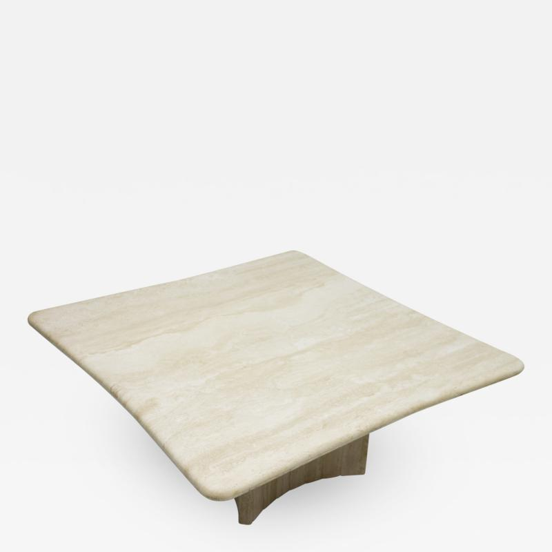 Beautiful Shaped Travertine Coffee Table Italy 1970s