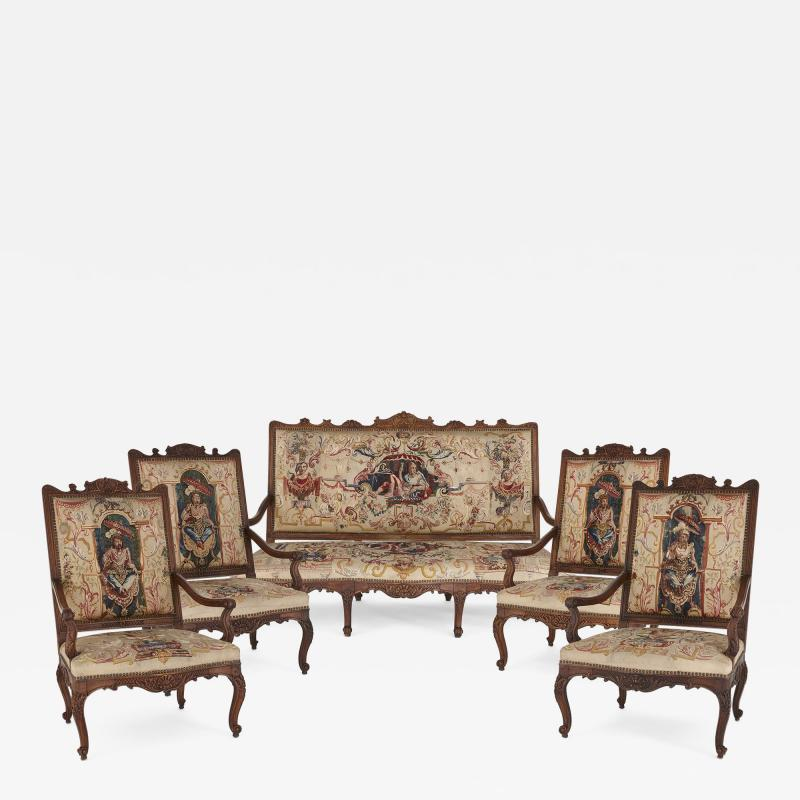 Beauvais Royal Manufacture 18th century Beauvais tapestry furniture suite