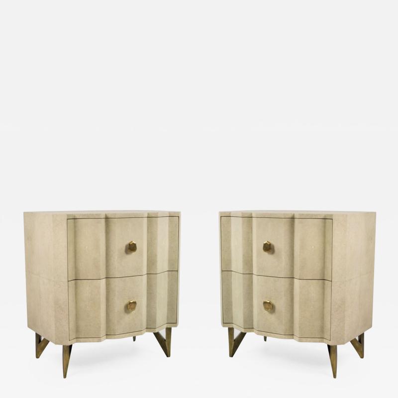Bedsides tables in shagreen by Studio Glustin