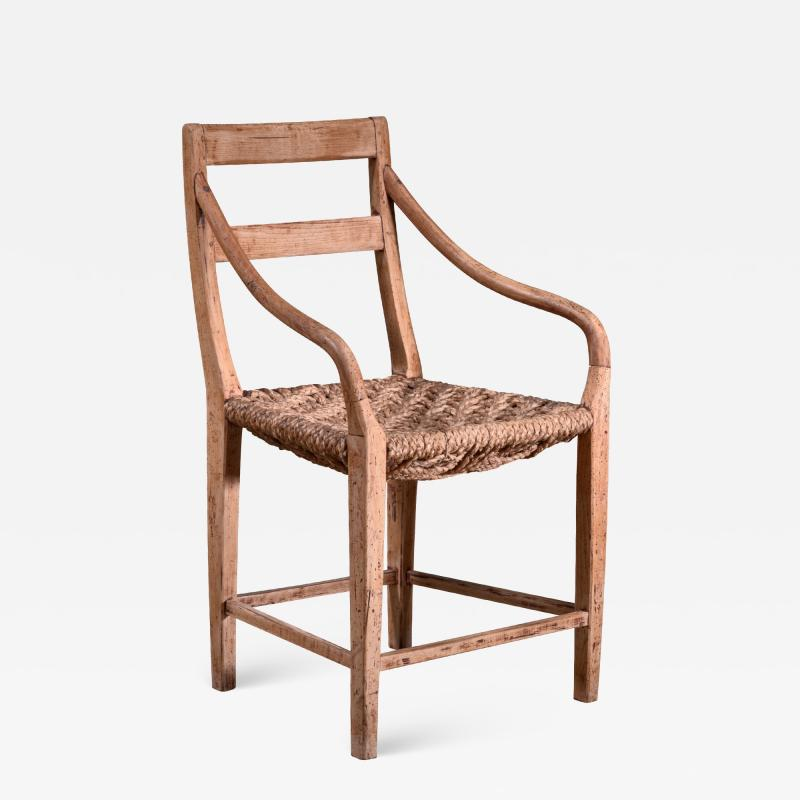 Beech and Woven Rope Armchair Denmark 19th Century