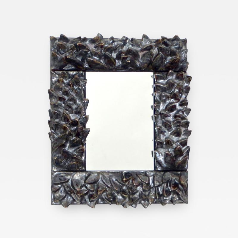 Bela Silva Bela Silva Sculptural Carved Floral Motif Ceramic Wall Mirror