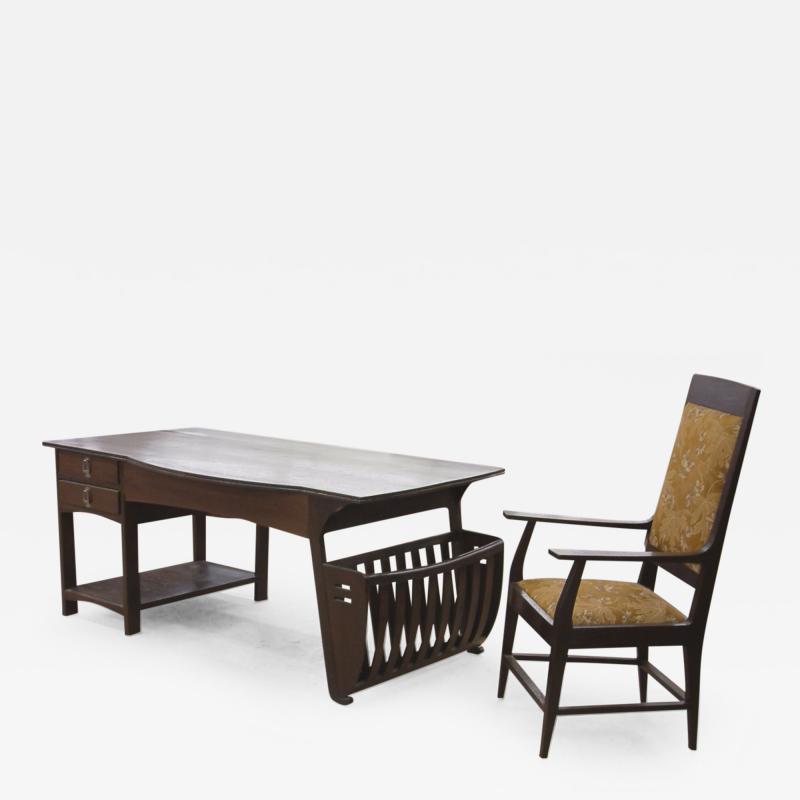 Belgian Art Nouveau Desk and Armchair