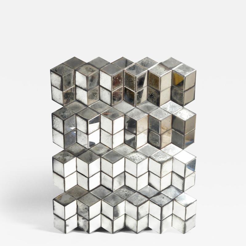 Belgian Glass Cube Brutalist Art Panel by Olivier de Shernee
