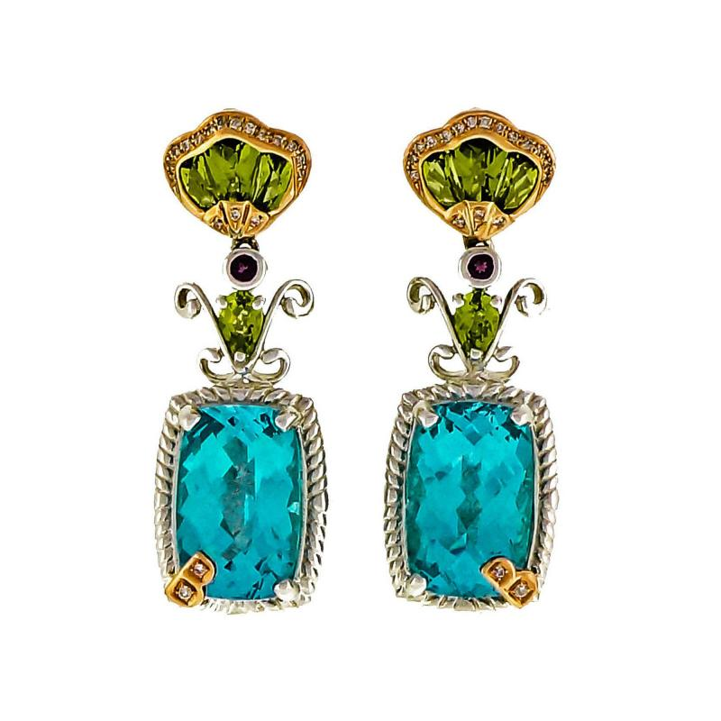 Bellarri bellarri Bellarri Peridot Topaz DIamond SilverRose Gold Dangle Earrings
