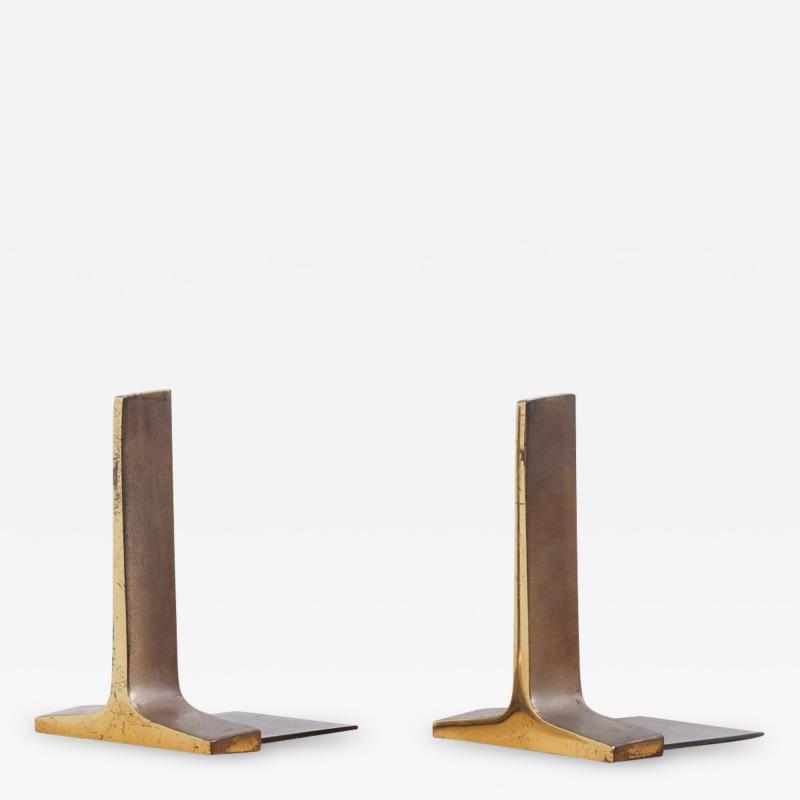Ben Seibel Modernist Bronze Bookends by Ben Seibel USA 1950s