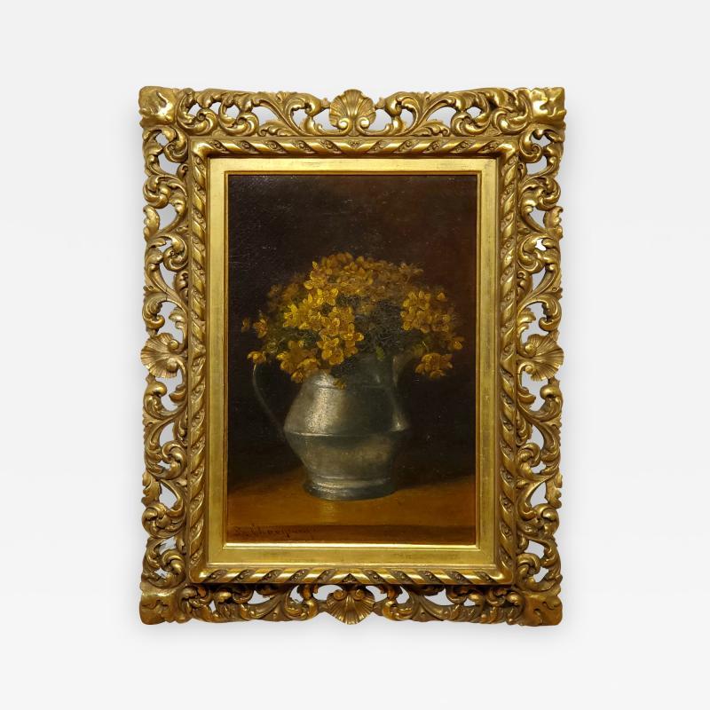 Benjamin Champney Benjamin Champney Still Life Painting of Yellow Flowers