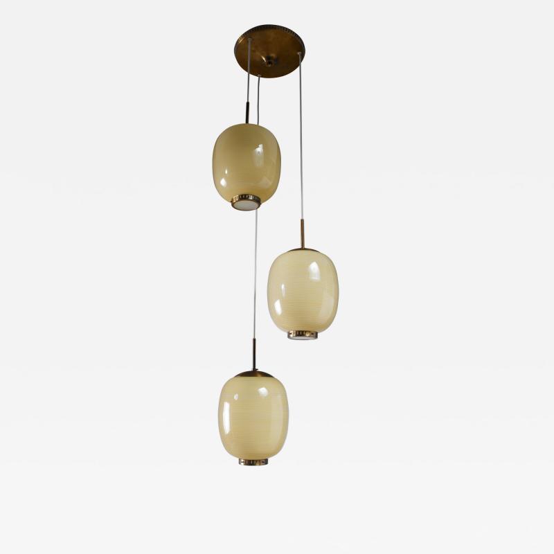 Bent Karlby Rare Bent Karlby striped glass chandelier Denmark 1950s