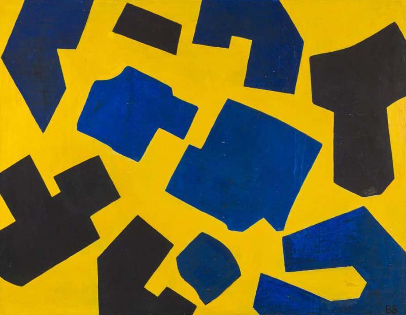 Bent S rensen Bent Sorensen Colorful Abstract Painting on Board Denmark 1990s