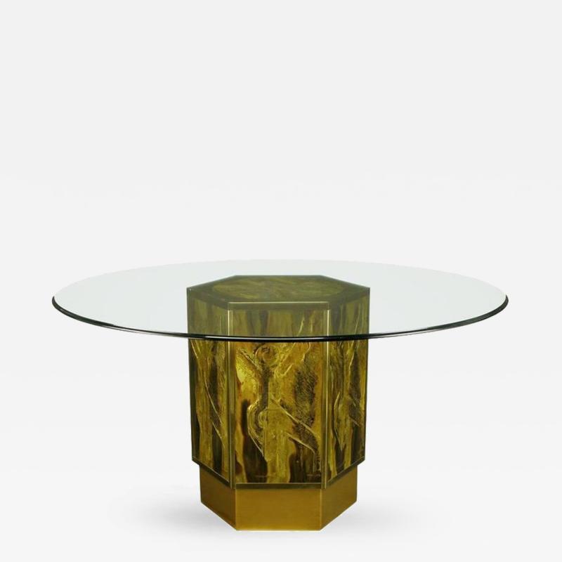 Bernhard E Rohne Bernhard Rohne for Mastercraft Acid Etched Brass Hexagonal Pedestal Table