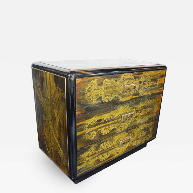 Bernhard Rohne Small Commode Acid Etched Brass Chest of Drawers Bernhard Rohne for Mastercraft