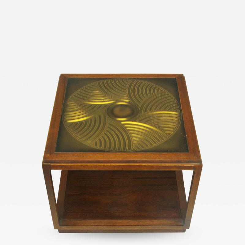 Bert England Bert England East Indian Laurel Side Table with Etched Brass Top for Baker