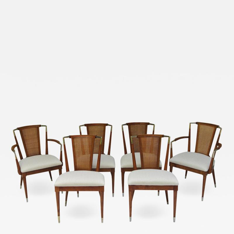 Bert England Bert England Forward Trend Six Cane and Brass Accented Dining Chairs 1960