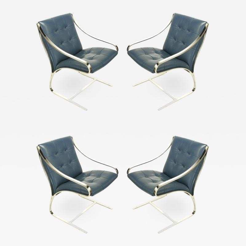 Bert England Four Bert England for Brueton Polished Steel Cadet Blue Leather Lounge Chairs