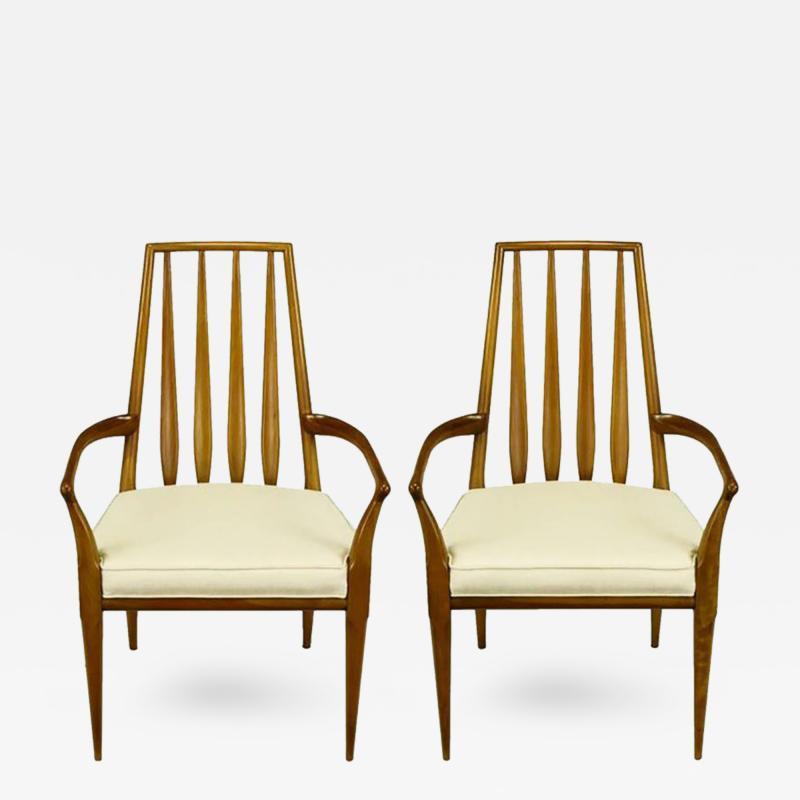 Bert England Pair of Bert England Sculpted Walnut and Off White Linen Slatback Armchairs