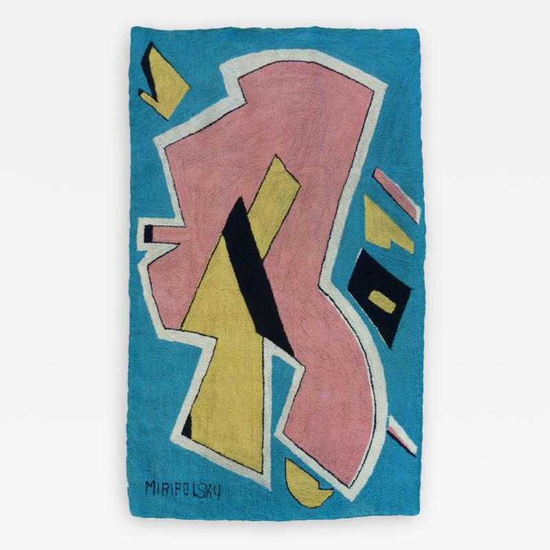 Bert Miripolsky Mid Century Playful Abstract Tapestry by Miripolsky