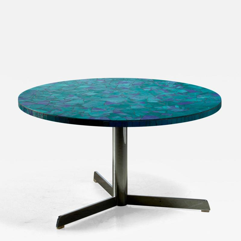 Berthold Muller Berthold Muller mosaic coffee table in blue Germany 1950s